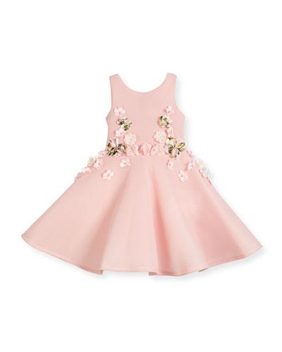 Sleeveless Floral Mesh Neoprene Circle Dress, Pink, Size 4-10