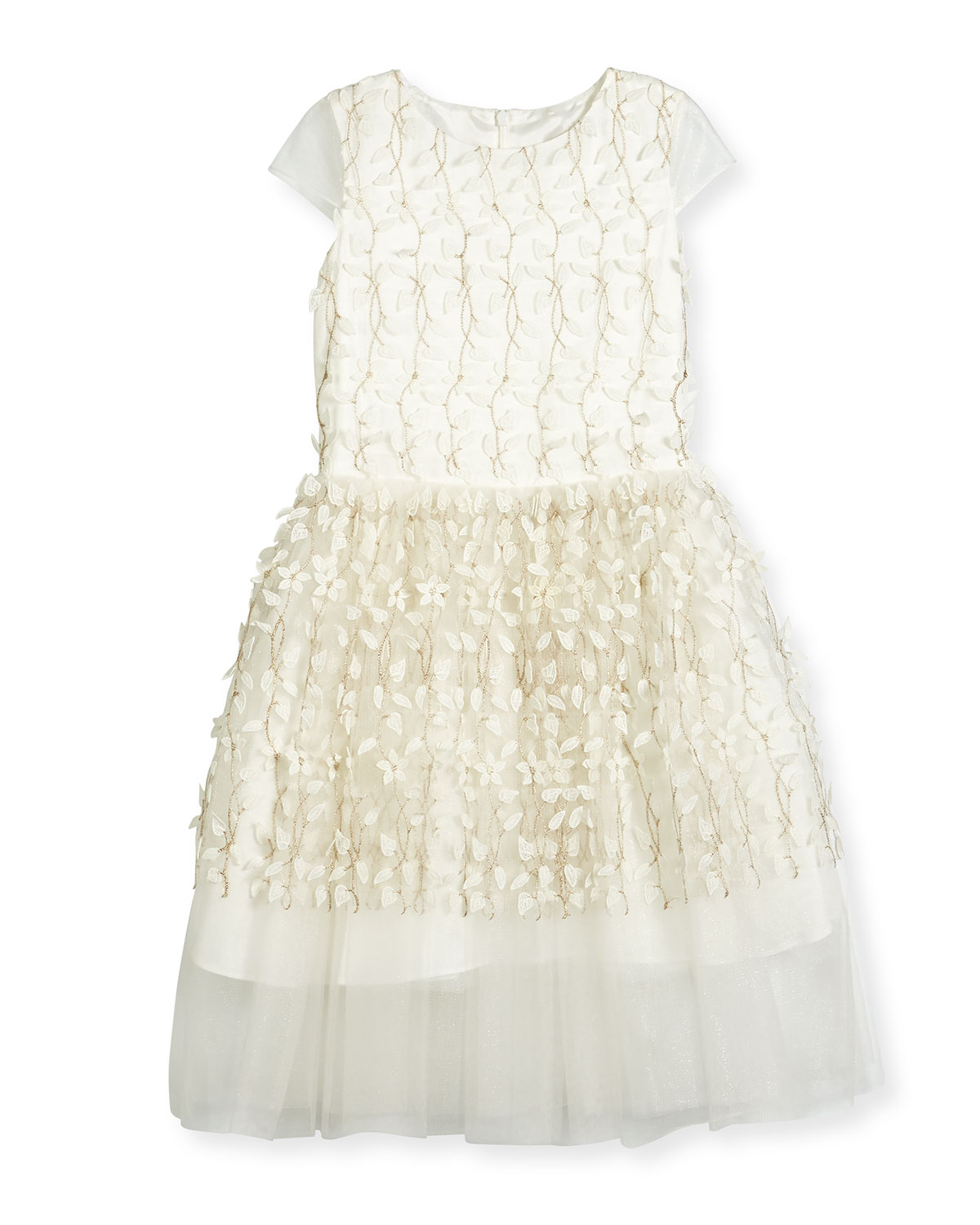 56f24a6689044 David Charles Cap-Sleeve Embroidered Tulle Party Dress