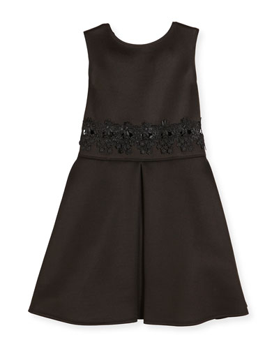 Sleeveless Lace-Trim Scuba Dress, Black, Size 8-16