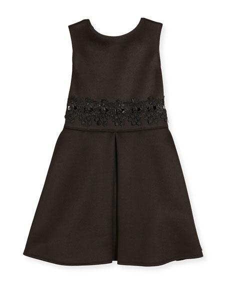 David Charles Sleeveless Lace-Trim Scuba Dress, Black, Size