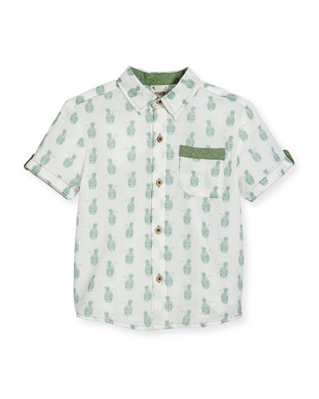 Fore Short-Sleeve Pineapple Skull Poplin Shirt, White, Size