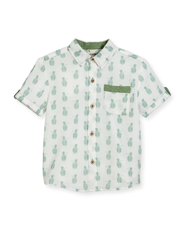 6cefd0f7c7 Fore Short-Sleeve Pineapple Skull Poplin Shirt