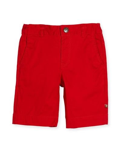 Stretch Chino Bermuda Shorts, Red, Size 2-8