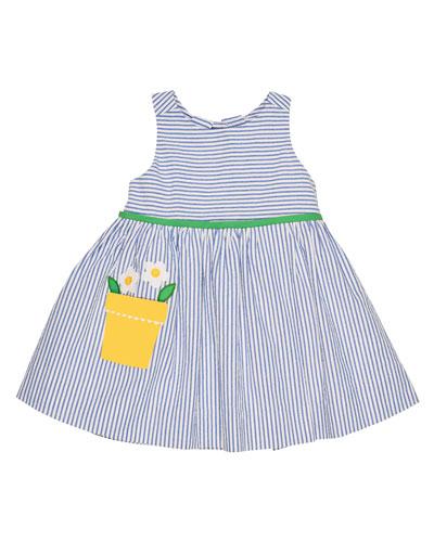 Sleeveless Striped Seersucker Dress, Blue, Size 2-6X
