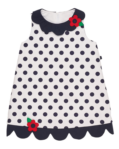 Florence Eiseman Scalloped Pique Polka-Dot Dress, White/Blue,