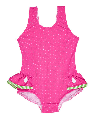 Skirted Polka-Dot One-Piece Watermelon Swimsuit, Pink, Size 6-24 Months