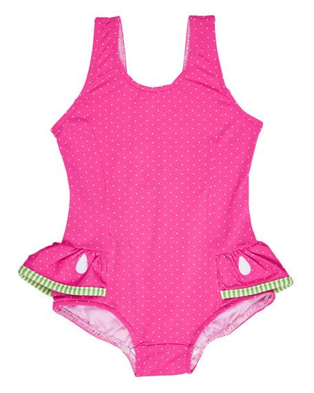 Florence Eiseman Skirted Polka-Dot One-Piece Watermelon Swimsuit,