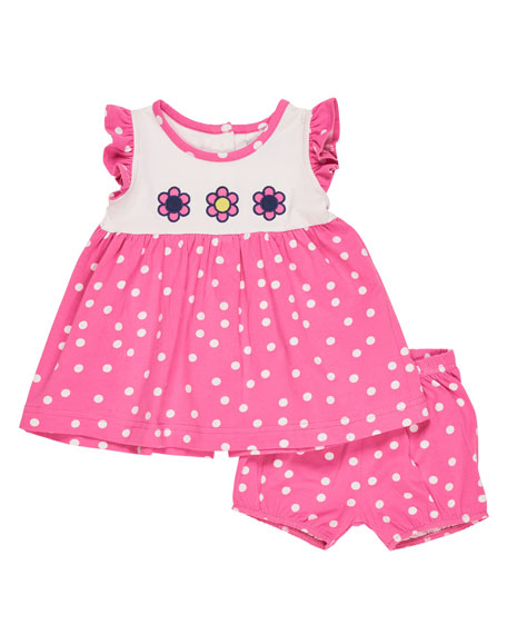 Sleeveless Smocked Floral Polka-Dot Dress w/ Bloomers, Pink, Size 3-24 Months