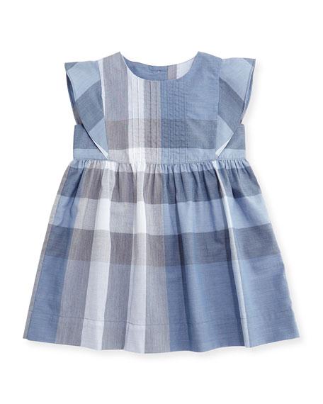 Burberry Gertrude Sleeveless Check Dress, Medium Blue, Size