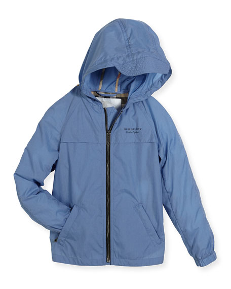 Burberry Aarcher Hooded Lightweight Rain Jacket, Blue, Size