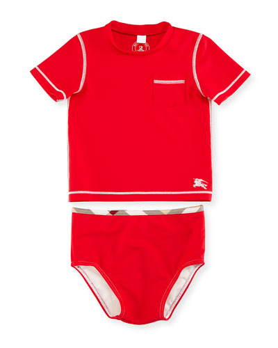 Crosby Short-Sleeve Rashguard Swimsuit, Cherry, Size 6M-3