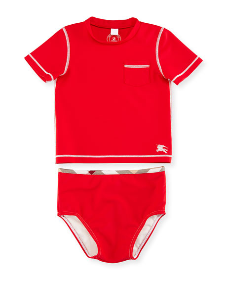 Burberry Crosby Short-Sleeve Rashguard Swimsuit, Cherry, Size