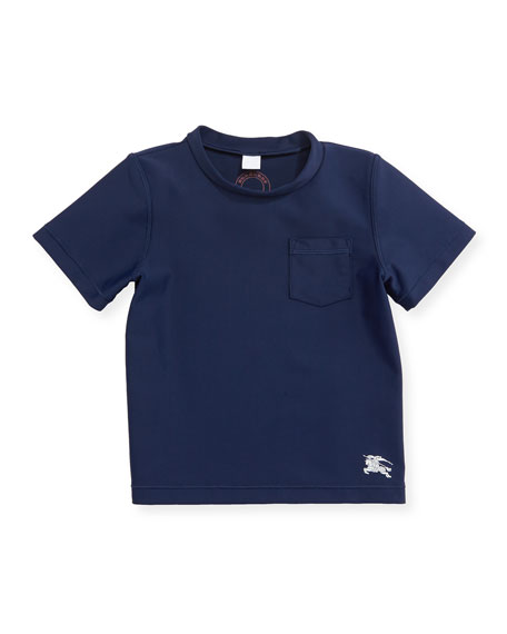 Barry Short-Sleeve Mock-Neck Rashguard, Navy, Size 12M-3