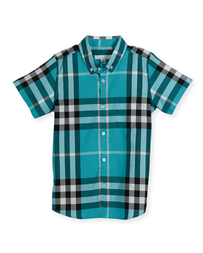 Mini Fred Short-Sleeve Check Shirt, Cyan Green, Size 6M-3
