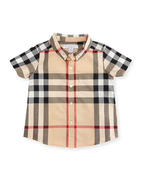 Burberry Mini Fred Short-Sleeve Check Shirt, Neutral, Size