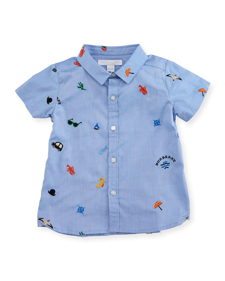 Burberry Clarkey Embroidered Shirt, Medium Blue, Infant/Toddler