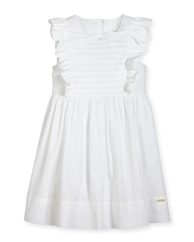 Carrie Ruffled Poplin Dress, White, 4-14