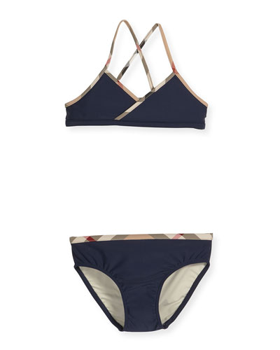 Crosby Cross-Back Two-Piece Swimsuit, Navy, Size 4-14
