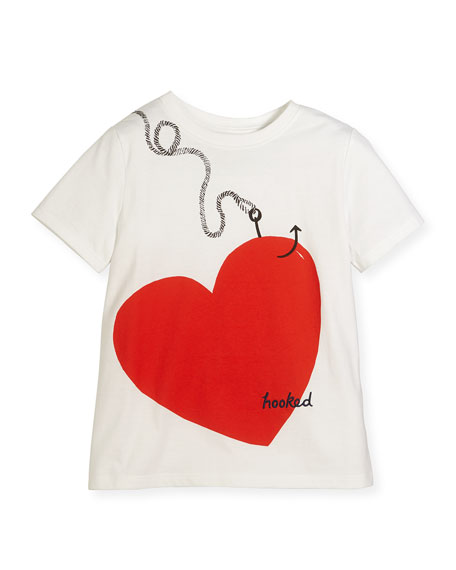 Burberry Hooked Heart Jersey Tee, White, Size 4-14