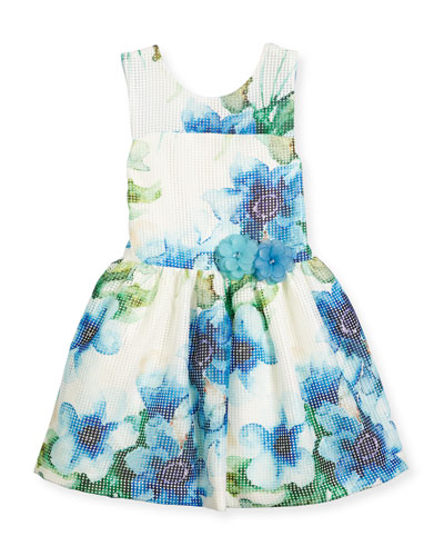 Sleeveless Floral Perforated Mesh Dress, Blue/White, Size 7-16