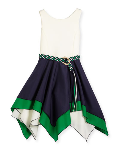Sleeveless Belted Scuba & Poplin Handkerchief Dress, Navy/White, Size 7-16
