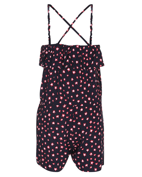 Angelina Stretch Jersey Star Romper, Blue, Size 3T-14