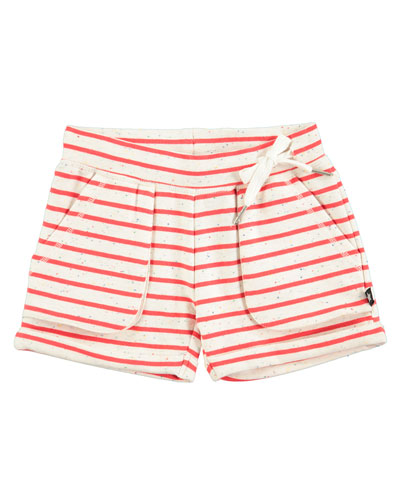 Ara Striped Melange Shorts, Red/White, Size 2T-12