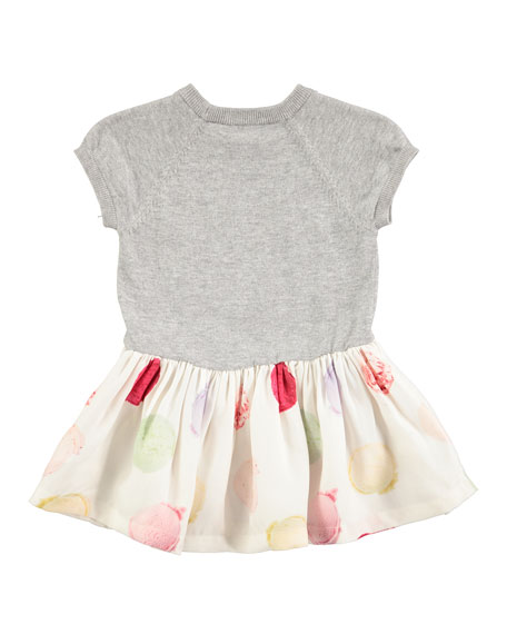 Calias Raglan Mixed-Media Dress, White/Gray, Size 12-24 Months