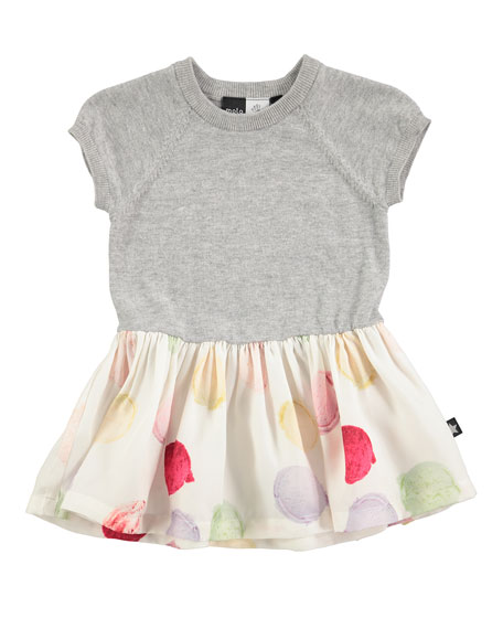 Molo Calias Raglan Mixed-Media Dress, White/Gray, Size 12-24