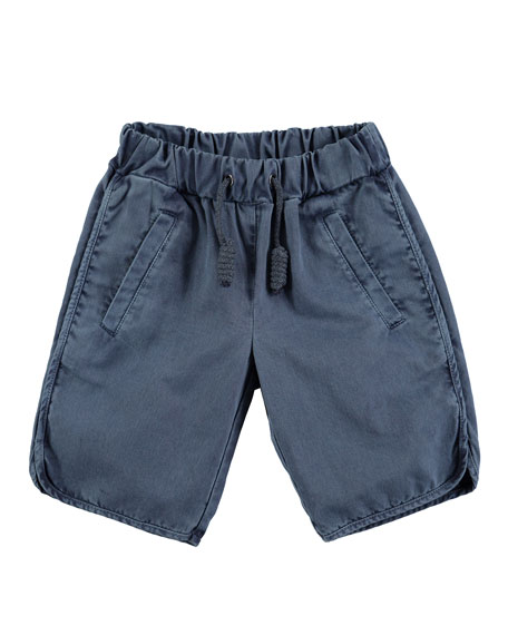 Albert Cotton Canvas Drawstring Shorts, Dark Blue, Size 4-12