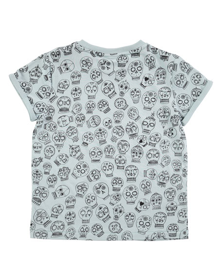 River Sugar Skull Jersey Tee, Light Blue, Size 4-12