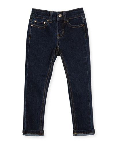 stretch denim skinny jeans, indigo, size 7-14
