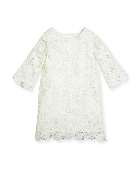 Charabia Nelly 3/4-Sleeve Floral Lace Shift Dress, White,