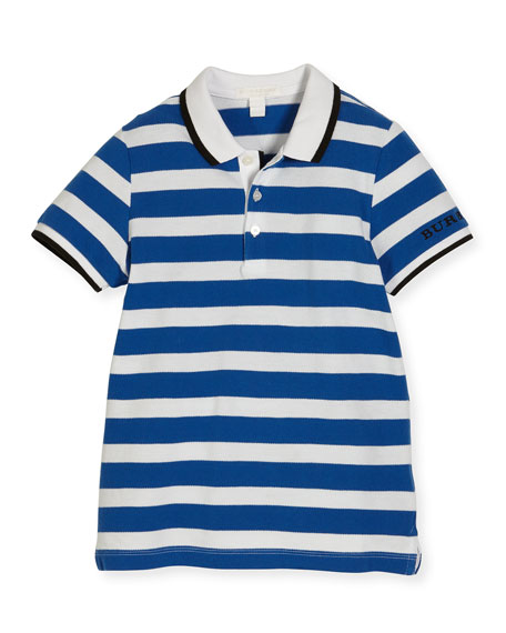 Burberry BPP Striped Pique Polo Shirt, Bright Blue,