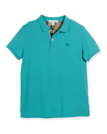 Burberry Mini PPM Pique Polo Shirt, Turquoise, Size