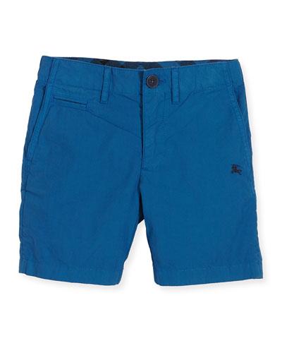 Cotton Chino Shorts, Blue, Size 4-14