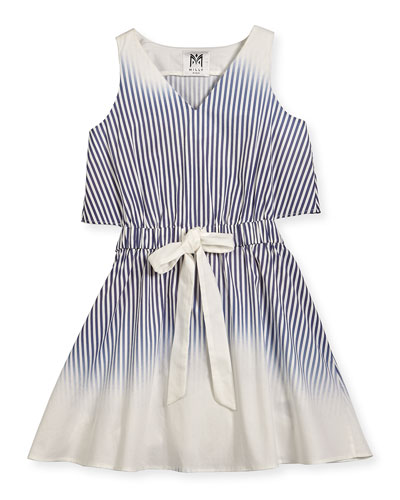 Jeanie Ombre Stripe Open-Back Fit-and-Flare Dress, Blue, Size 8-16