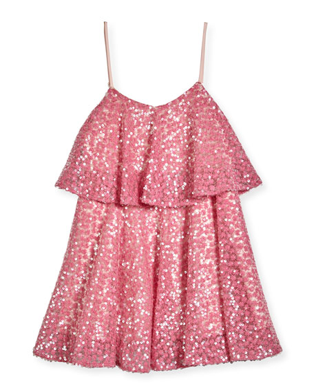 Milly Minis Sleeveless Sequined Floral Popover Tank Dress,