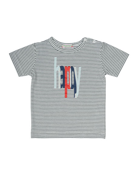 Striped Jersey Happy Tee, Blue/White, Size 6M-2