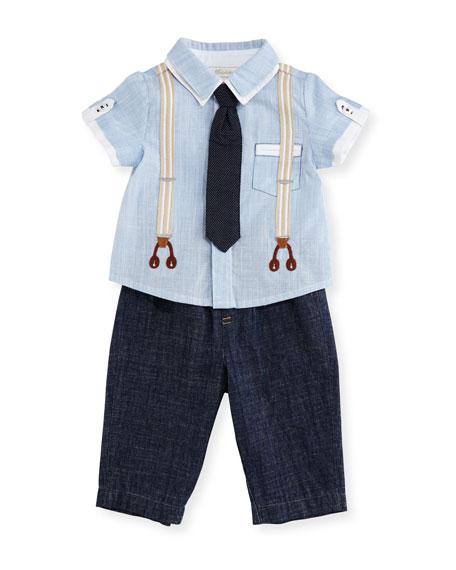 Miniclasix Short-Sleeve Oxford Shirt w/ Chambray Pants, Blue,