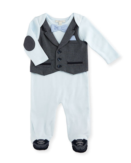 Miniclasix Cotton Jersey Footed Coverall, Blue, Size 3-9