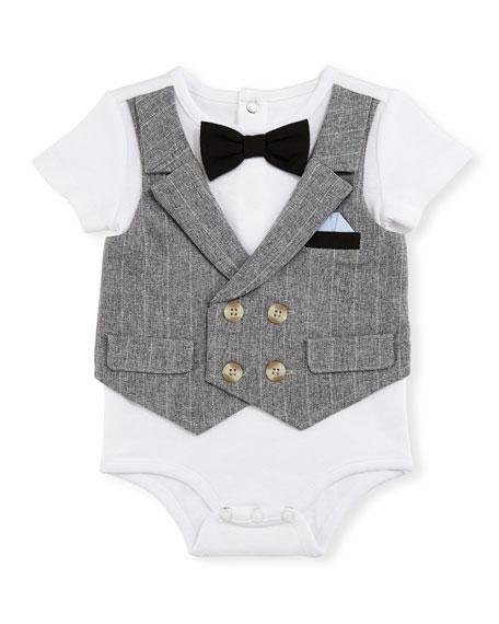 Miniclasix Short-Sleeve Jersey Playsuit w/ Vest, White, Size