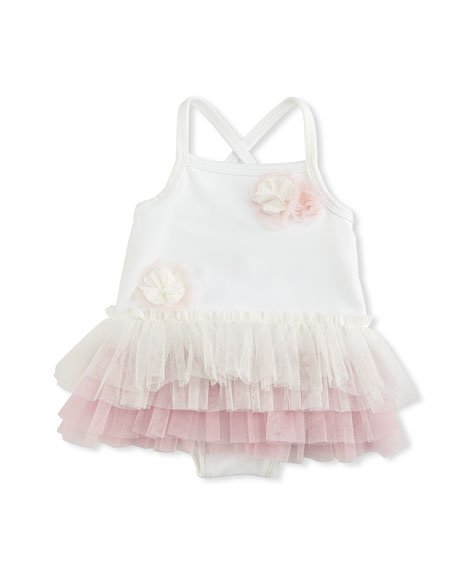 Tiered Cross-Back Swimsuit, Ivory, Size 3-24 Months