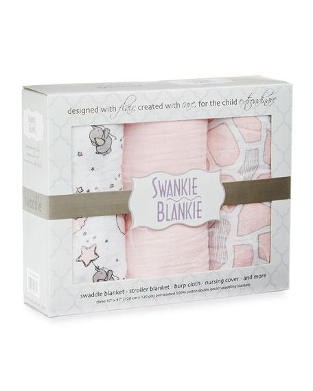 3-Piece Swaddle Blanket Set, Pink