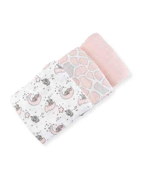 Swankie Blankie 3-Piece Swaddle Blanket Set, Pink