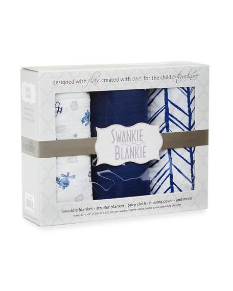 3-Piece Swaddle Blanket Set, Blue
