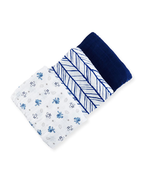 Swankie Blankie 3-Piece Swaddle Blanket Set, Blue