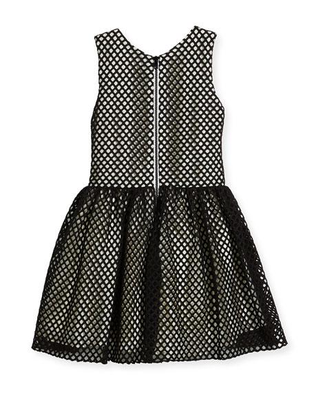 Sleeveless Smocked Mesh Dress, Black/White, Size 7-16