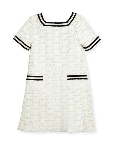 Short-Sleeve Lattice Shift Dress, White, Size 4-6X