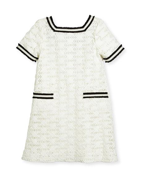 Short-Sleeve Lattice Shift Dress, White, Size 7-16